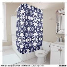 Antique Elegant Dutch Delfts Blue Floral Pattern Shower Curtain. Made for the lover of pretty Delfts Blue pottery from the Netherlands. Ornate, elegant and funky hipster motif for the artistic interior designer, the artsy popular hip trendsetter, vintage mod retro, nouveau deco art style, bali batik or abstract graphic digital geometric motif lover. Original, modern and whimsical bathroom decor accent.