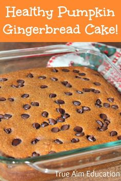 Healthy Pumpkin Gingerbread Cake, gluten free, paleo, and so easy! You could even leave the sweetener out and it would still be good. Gluten Free Pumpkin, Healthy Pumpkin, Pumpkin Recipes, Fall Recipes, Holiday Recipes, Whole Food Recipes, Cooking Recipes, Gluten Free Sweets, Paleo Dessert