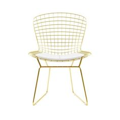 Bertoia Side Chair In Gold Finish ($400) ❤ liked on Polyvore featuring home, furniture and chairs
