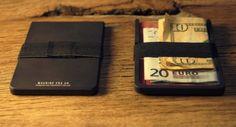 MACHINE  ERA - Flat Black Aluminium Wallet1 Small For Mens.