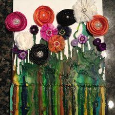 Crayon art flower garden! So fun!