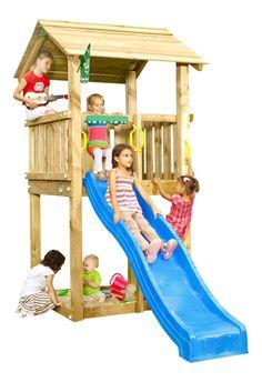 JUNGLE GYM Spielturm CASA Kletterturm mit Rutsche Spielhaus Baumhaus Leiter Holz