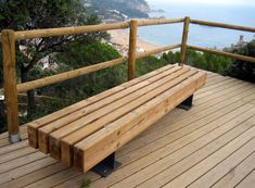 Public bench / contemporary / wooden / engineered stone - LONGO by Manuel Ruisánchez - Escofet