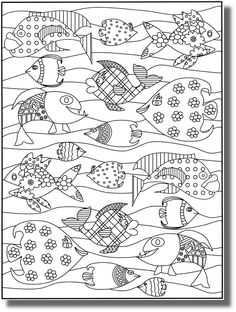 Happy fishes - Fishes Adult Coloring Pages Adult Coloring Pages, Coloring For Kids, Colouring Pages, Coloring Sheets, Coloring Books, Fish Art, Digi Stamps, Printable Coloring, Doodle Art