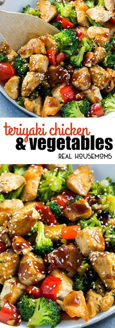 This Teriyaki Chicken and Vegetables is an easy and healthy meal that's perfect for a busy weeknight! #Teriyakichicken #Easyhealhtydinner #Realhousemoms
