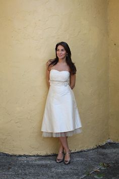 tea length wedding dress - i DO have nice legs & ankles for this!