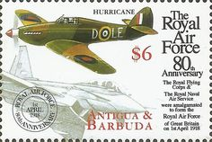 Stamp: Hawker Hurricane and Eurofighter EF 2000 (Antigua and Barbuda) (80th Anniversary of the Royal Air Force) Mi:AG 2832,Sn:AG 2202.