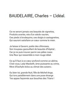 Baudelaire, L'idéal | https://www.youtube.com/watch?v=o_i8EcEDTbs