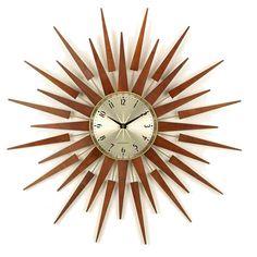 sun, clock, mid-century modern double starburst