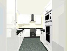 Bespoke Kitchen Design @ home-improver.com  this kitchen has white high gloss doors with black high gloss draws & plinths, worktops are black quartz granite affect.