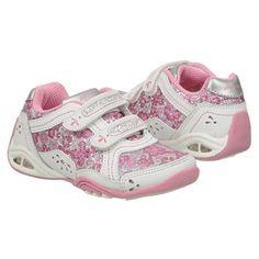 Stride Rite Jade H&L Sneaker in White/Pink. #striderite #Jadesneaker #girls #toddler #shoes #toddlershoes #girlsshoes #pink #velcroshoes #white