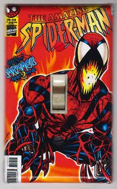 Items similar to Spiderman Light Switch Cover Plate - Amazing Spider Man 418 Marvel Comics Carnage on Etsy Marvel Comics Superheroes, Hq Marvel, Marvel Comic Books, Marvel Characters, Comic Books Art, Comic Art, Book Art, Marvel Heroes, Marvel Movies