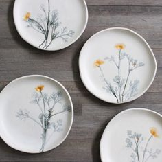 california poppy ceramic plates