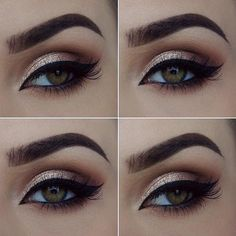 Makeup on fleek! Loving this bold look #beauty #brows #gold