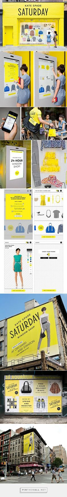 """Kate Spade Saturday 24-Hour Window Shops  It is a four one month pop-up window shops in New York City. Using a touch screen on the store windows shoppers could """"window shop"""" and have their purchases delivered anywhere in 1 hour—via bike messengers dressed in Kate Spade Saturday yellow"""