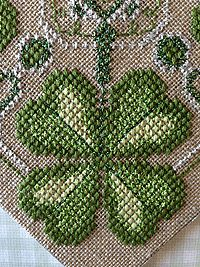 Faith, Hope, Love, and Luck - free shamrock cross stitch pattern from Kreinik