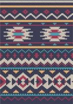 seamless Knitted wool pattern on navy background in Fair Isle style