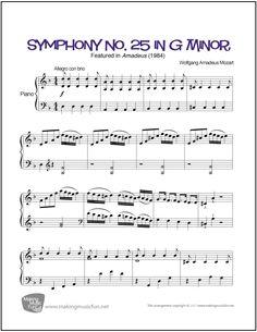 Symphony No. 25 in G Minor (Mozart) | Sheet Music for Piano (Digital Print) http://makingmusicfun.net/htm/f_printit_free_printable_sheet_music/symphony-twenty-five-mozart-piano.htm
