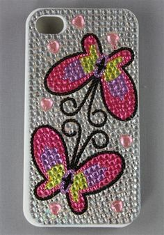 I Phone Case / Butterfly Design / Plastic Case With Crystal Bead / 4G / 4S