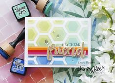 Hexo-tastic Friend – laurafadora; May 2020 #timholtz #rangerink #sizzix #stampersanonymous #distressoxides #distressink #timholtzstencils #thinlets #3Dembossing #alcoholinks #alcoholliftink #timholtzstencils #artjournals #mixedmedia Butterfly Cards, Flower Cards, Set Honey, Simon Says Stamp Blog, Honey Bee Stamps, Miss You Cards, Cards For Friends, Friend Cards, Hexagon Pattern
