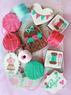 sewing cookies - love the yarn balls using a balloon cutter! And the bunting heart is cute