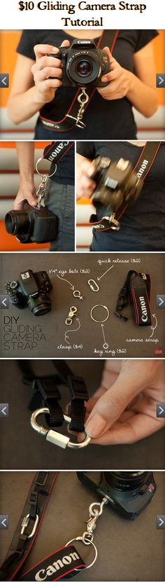 Gliding Camera Strap (VIDEO) Tutorial :: These straps go for bucks. Learn how to make one for less than Super easy! Now you can wear your camera across your body (not weighing on your neck) & have it at the ready w/ ease! Photography Accessories, Photography Camera, Photography Business, Photography Tutorials, Love Photography, Digital Photography, Photography Hashtags, Photography Backdrops, Outdoor Photography