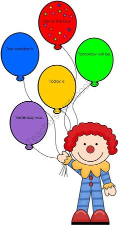 Interactive Days of the Week Clown with Balloons from Imaginative Teacher on TeachersNotebook.com -  (6 pages)  - Have your students/star of the day change the day names each morning to remind them of the sequence in which the days occur. Star Of The Day, A Classroom, Early Childhood, Appliques, Balloons, Preschool, Students, Teacher, Change