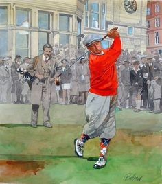 Golf School Bobby Jones at St. Watercolor and Gouache on Strathmore board by Andrew Buttram. Golf Knickers, Golf Painting, Sports Art, Sports Decor, Golf Art, Miniature Golf, Vintage Golf, Hole In One, Golf Lessons