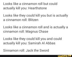 Cinnamon roll explanations for Magnus Chase