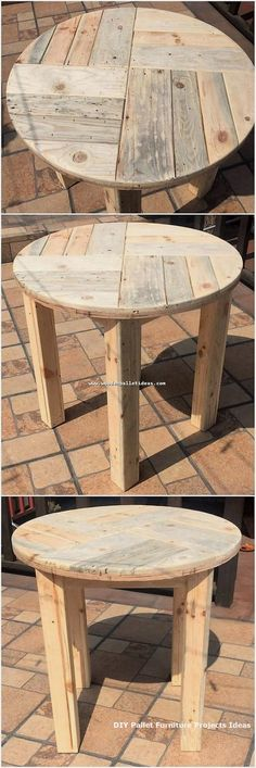 Have a look at this wood pallet stylish table design as perfect set in the round top shaped forming! It is modish designed out with the simplicity blends into it. If you already have some extra wood pallet planks in your house then you can give a try Woodworking Projects Diy, Diy Pallet Projects, Woodworking Furniture, Pallet Ideas, Woodworking Skills, Youtube Woodworking, Wooden Projects, Teds Woodworking, Diy Pallet Furniture
