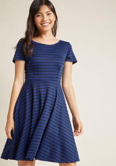 #ModCloth - #ModCloth Playlist Professional A-Line Dress in Striped Cobalt in 2X - AdoreWe.com