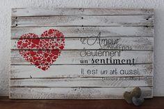 Hello, Un jour, une palette m'a fait de l'oeil ... et depuis, une grande histoire d'amour est née... Voici ma Palett'Déco Amour est un Art http://luniversdegarfield59.over-blog.com palette bois récup peinture déco amour art coeur création home sweet home...