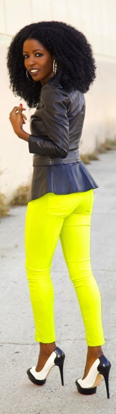 Leather Jacket + Peplum Blouse + Neon Jeans  #Flared Leather Jacket #Lime Neon Skinnies #BW Platform Pumps