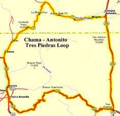 The Chama - Antonito - Tres Piedras Loop is a very scenic, moderate ride through the forests in northern New Mexico, mostly on lightly traveled highways. This ride goes through large aspen forests that in the fall (September) change from green to vivid yellow, oranges and reds that are hard to beat. Be prepared for cold (freezing) mornings and warm afternoons this time of year.