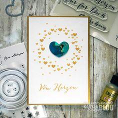 Karten-Kunst » Herzchen-Kranz und Alcohol-Inks Karte mit Video Clear Stamps, Blog, Big Words, Homemade Cards, Die Cutting, Stamping, Card Crafts, Kunst, Blogging