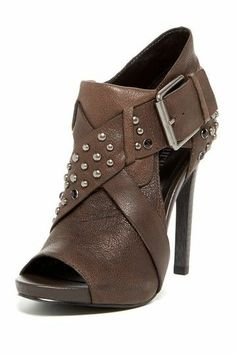 Luxury Rebel Aris Stud Peep toe Heel in brown