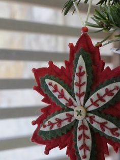 Poinsettia felt ornament...