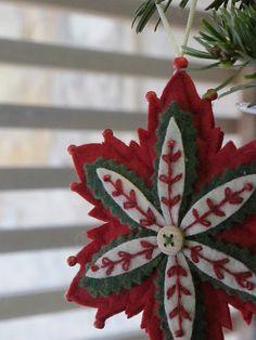Poinsettia felt ornament...