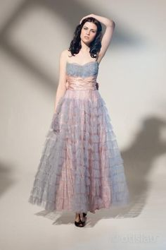 Vintage 50s dress dream lavender lilac blush pink sash cake layers princess shelf bust frill tulle satin bow wedding bridal prom party cocktail fairy old hollywood sequins aplique maxi sweet heart gown gala red carpet 0083. from aiseirigh, via Etsy.