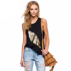 Complete your look with this sexy black loose fitted tank top with feather print design. Pair with your favorite bottoms to complete your look.
