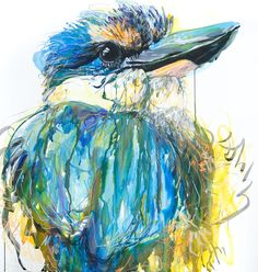 Meaghan Potter, Sacred Kingfisher II, 2017, Watercolour, Ink and Conte Charcoal on Arches 300gsm Watercolour paper, 90 x 90 cm, .M Contemporary, Art Gallery, 37 Ocean St, Woollahra, NSW, enquire at gallery@mcontemp.com