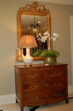 Love this antique french commode and mirror!  Libby Greene Interiors