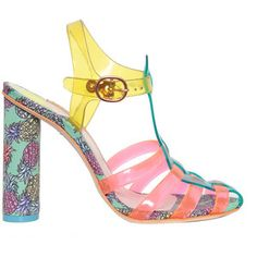 db89a96faae Sophia Webster spring summer 2015 Rosa sandals with flourescent rubber  straps and high-tech fabric heel with Pineapple print
