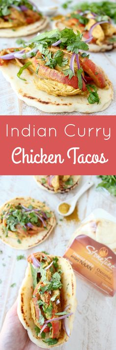 Indian Curry Chicken Tacos combine an easy, homemade yellow curry sauce, with tender chicken spooned into Mini Naan for a fun & delicious taco twist!