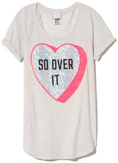 """Gifts for Her to Celebrate Anti Valentines Day:  """"So Over It"""" Conversation Hearts Bling T-Shirt @ VS PINK"""