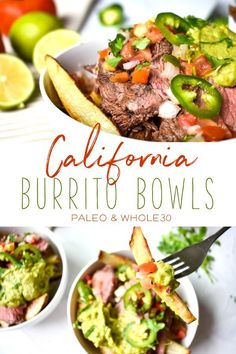 These California burrito bowls are the perfect dish to satisy your Mexican food craving. The ingredients are all Whole30 and paleo which makes this meal not only delicious but also super healthy! #mexicanfood #whole30 #paleo