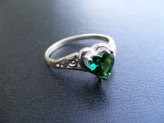 15% Off Sale. S352.Made To Order...Sterling Silver Antique Filigree Heart Ring with 2 Carat Emerald Cz Gemstone by silverfoxjewelers on Etsy
