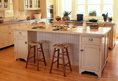 #Kitchen Idea of the Day: Antique White Kitchen with Bead-board Island Back. (By Crown Point Cabinetry)