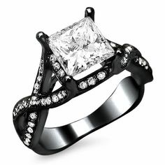 Black Diamond Engagement Ring Princess Cut 55