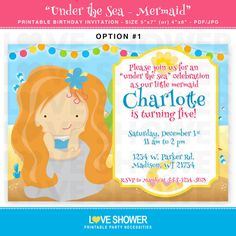 MERMAID Under the Sea Printable Birthday Invitation - 5x7 4x6 - Printable - Digital - Print Your Own - PDF JPG. $12.50, via Etsy.